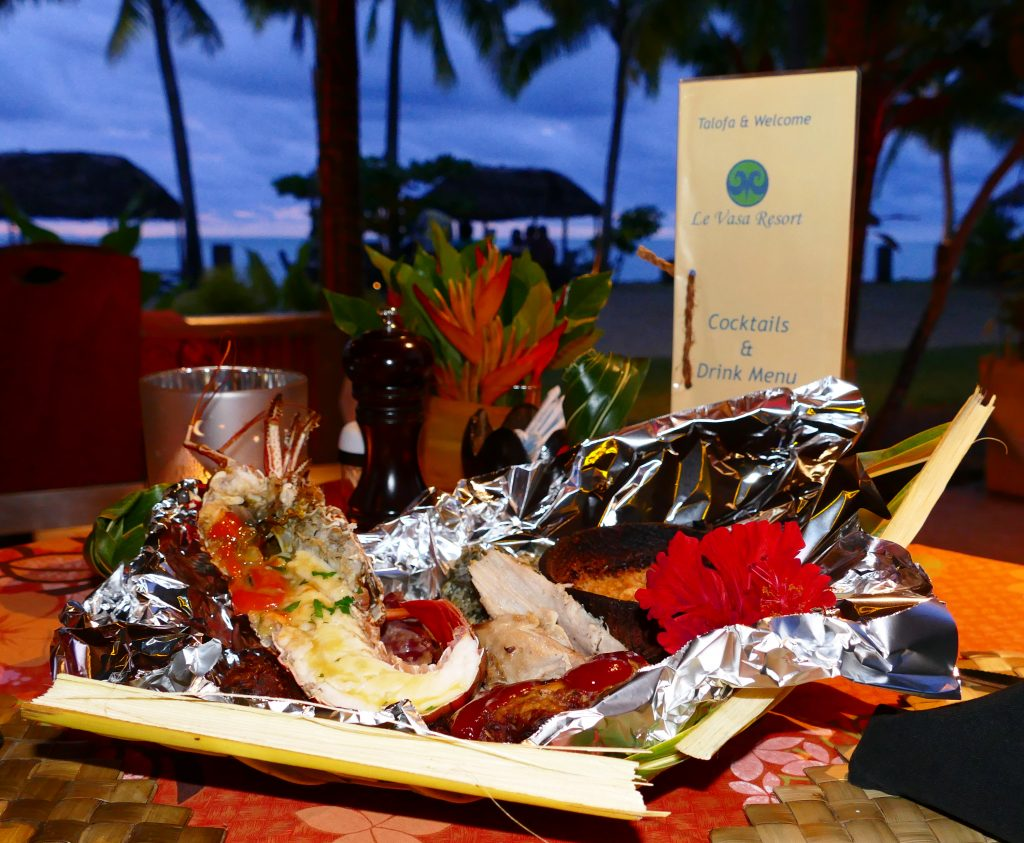 Samoan-food in a mailo at Le Vasa Resort